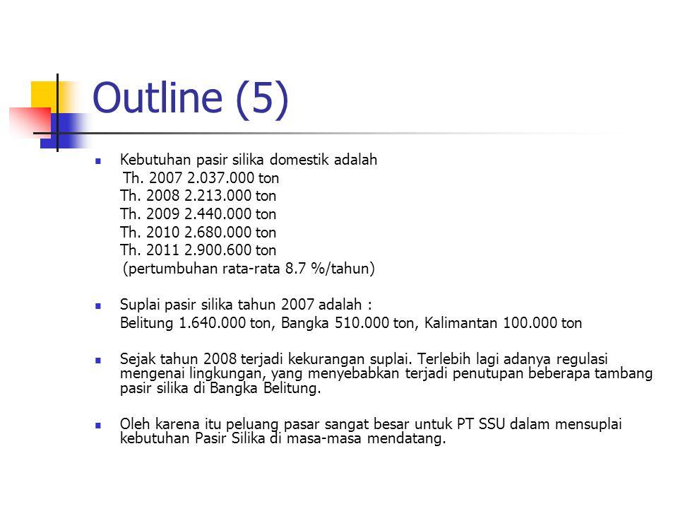 Outline (5) Kebutuhan pasir silika domestik adalah Th. 2007 2.037.000 ton Th. 2008 2.213.000 ton Th. 2009 2.440.000 ton Th. 2010 2.680.000 ton Th. 201