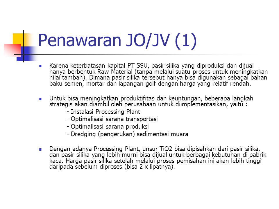 Penawaran JO/JV (1) Karena keterbatasan kapital PT SSU, pasir silika yang diproduksi dan dijual hanya berbentuk Raw Material (tanpa melalui suatu pros