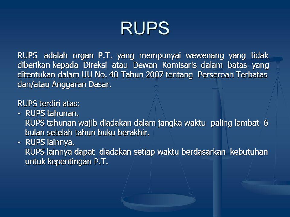RUPS RUPS adalah organ P.T. yang mempunyai wewenang yang tidak diberikan kepada Direksi atau Dewan Komisaris dalam batas yang ditentukan dalam UU No.