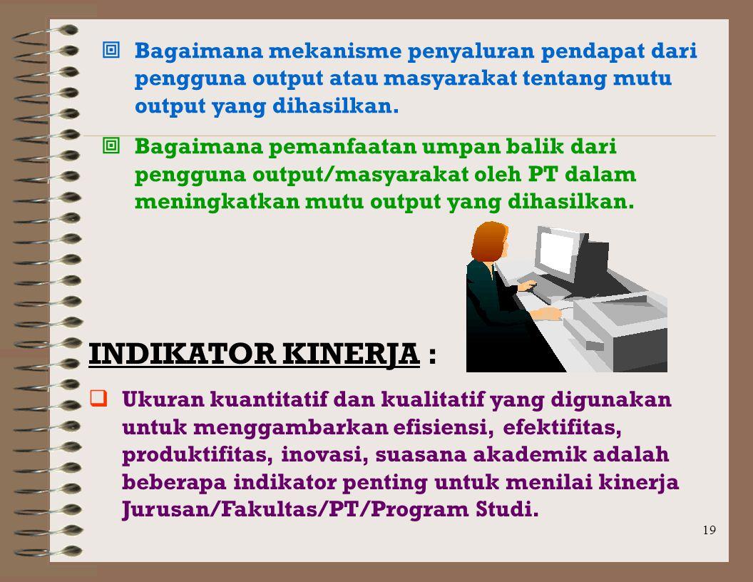 18 O U T P U T :  Hasil adalah semua yang diperoleh sesuai rencana melalui pengelolaan dan pengendalian proses.