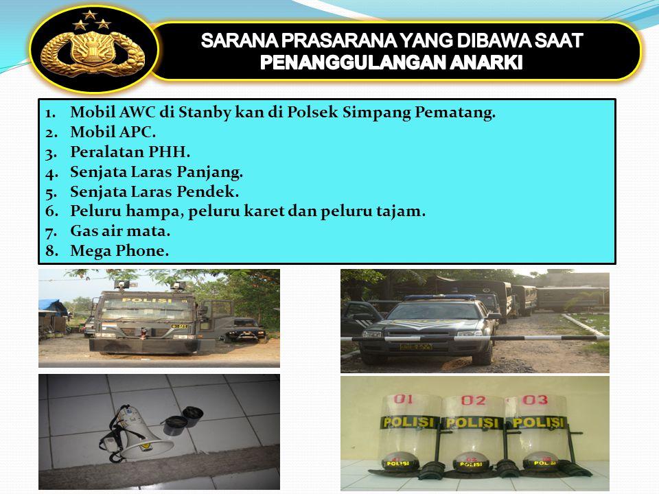 1.Mobil AWC di Stanby kan di Polsek Simpang Pematang. 2.Mobil APC. 3.Peralatan PHH. 4.Senjata Laras Panjang. 5.Senjata Laras Pendek. 6.Peluru hampa, p