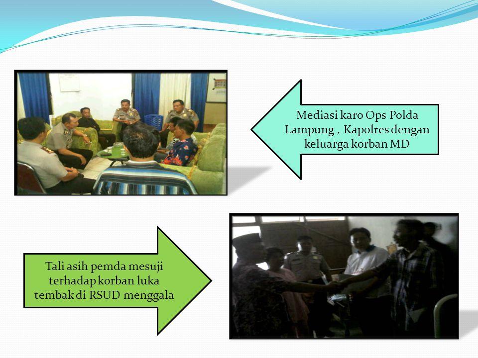 Tali asih pemda mesuji terhadap korban luka tembak di RSUD menggala Mediasi karo Ops Polda Lampung, Kapolres dengan keluarga korban MD