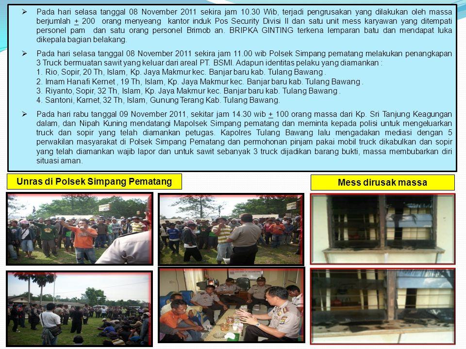  Pada hari selasa tanggal 08 November 2011 sekira jam 10.30 Wib, terjadi pengrusakan yang dilakukan oleh massa berjumlah + 200 orang menyeang kantor