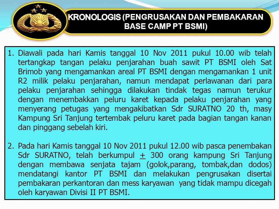 1.Diawali pada hari Kamis tanggal 10 Nov 2011 pukul 10.00 wib telah tertangkap tangan pelaku penjarahan buah sawit PT BSMI oleh Sat Brimob yang mengam