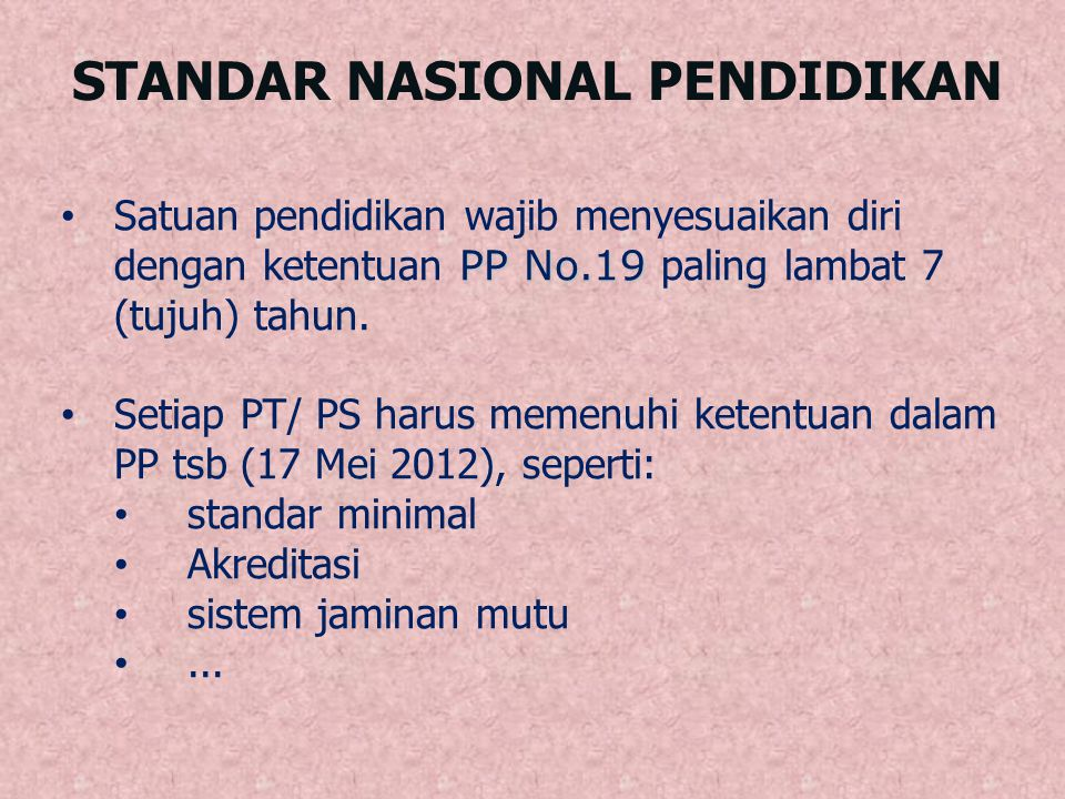 STANDAR NASIONAL PENDIDIKAN PP No.19 Satuan pendidikan wajib menyesuaikan diri dengan ketentuan PP No.19 paling lambat 7 (tujuh) tahun. Setiap PT/ PS