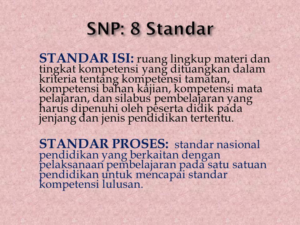 STANDAR ISI: ruang lingkup materi dan tingkat kompetensi yang dituangkan dalam kriteria tentang kompetensi tamatan, kompetensi bahan kajian, kompetens