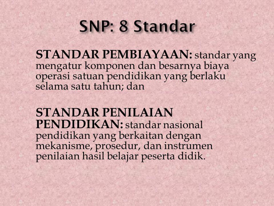 STANDAR PEMBIAYAAN: standar yang mengatur komponen dan besarnya biaya operasi satuan pendidikan yang berlaku selama satu tahun; dan STANDAR PENILAIAN