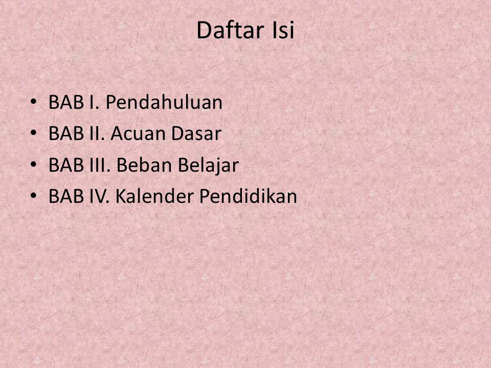 Daftar Isi BAB I. Pendahuluan BAB II. Acuan Dasar BAB III. Beban Belajar BAB IV. Kalender Pendidikan