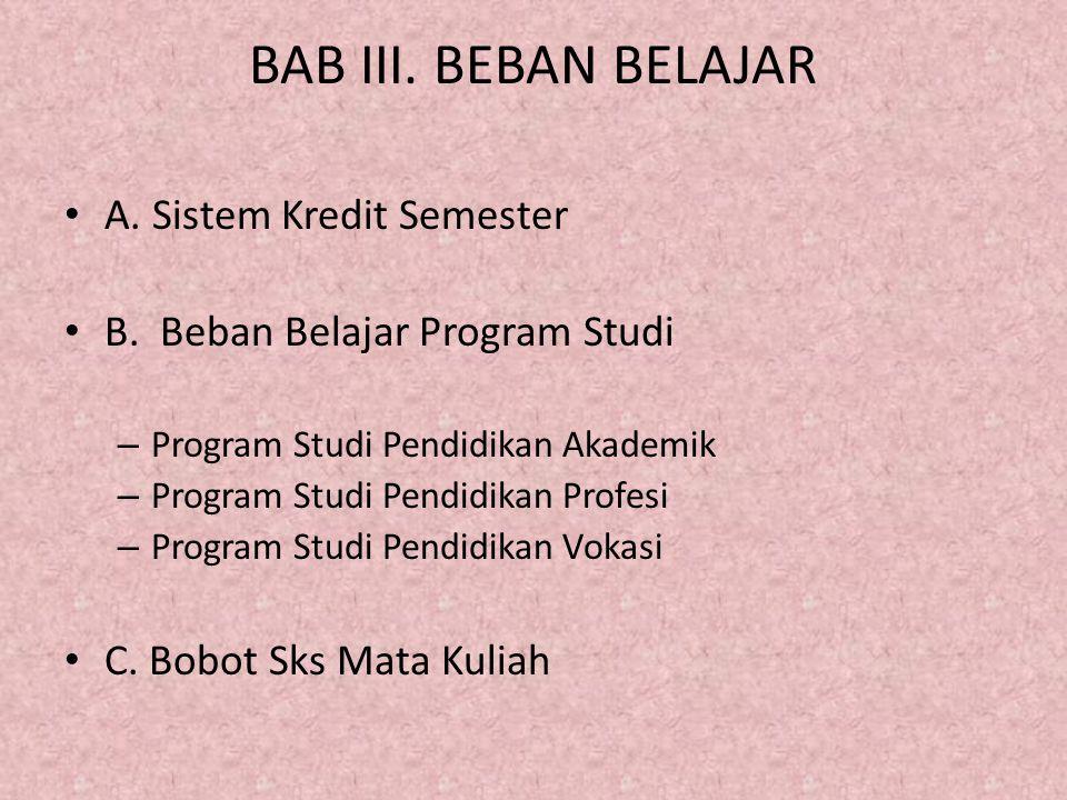 BAB III. BEBAN BELAJAR A. Sistem Kredit Semester B. Beban Belajar Program Studi – Program Studi Pendidikan Akademik – Program Studi Pendidikan Profesi
