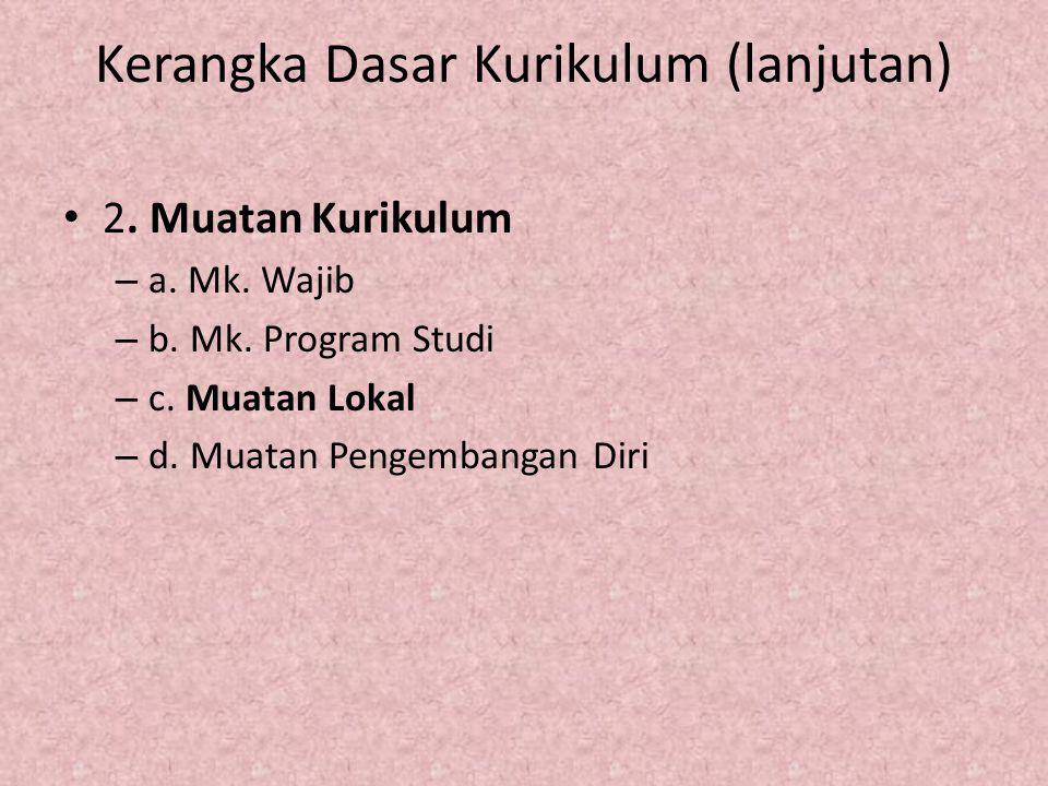 Kerangka Dasar Kurikulum (lanjutan) 2. Muatan Kurikulum – a. Mk. Wajib – b. Mk. Program Studi – c. Muatan Lokal – d. Muatan Pengembangan Diri