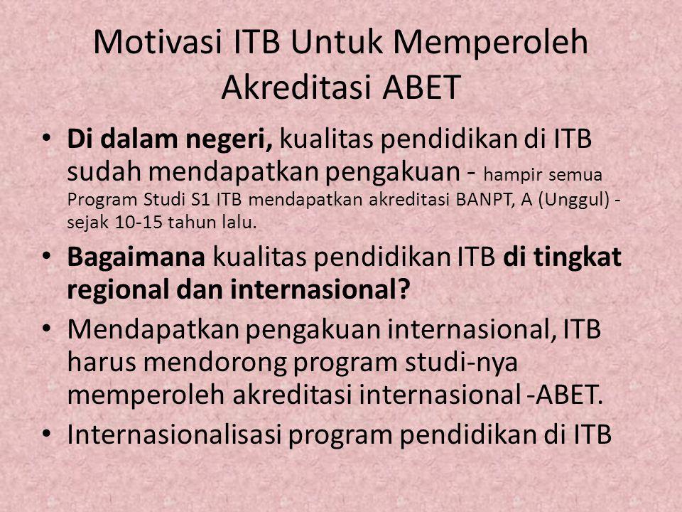 Motivasi ITB Untuk Memperoleh Akreditasi ABET Di dalam negeri, kualitas pendidikan di ITB sudah mendapatkan pengakuan - hampir semua Program Studi S1