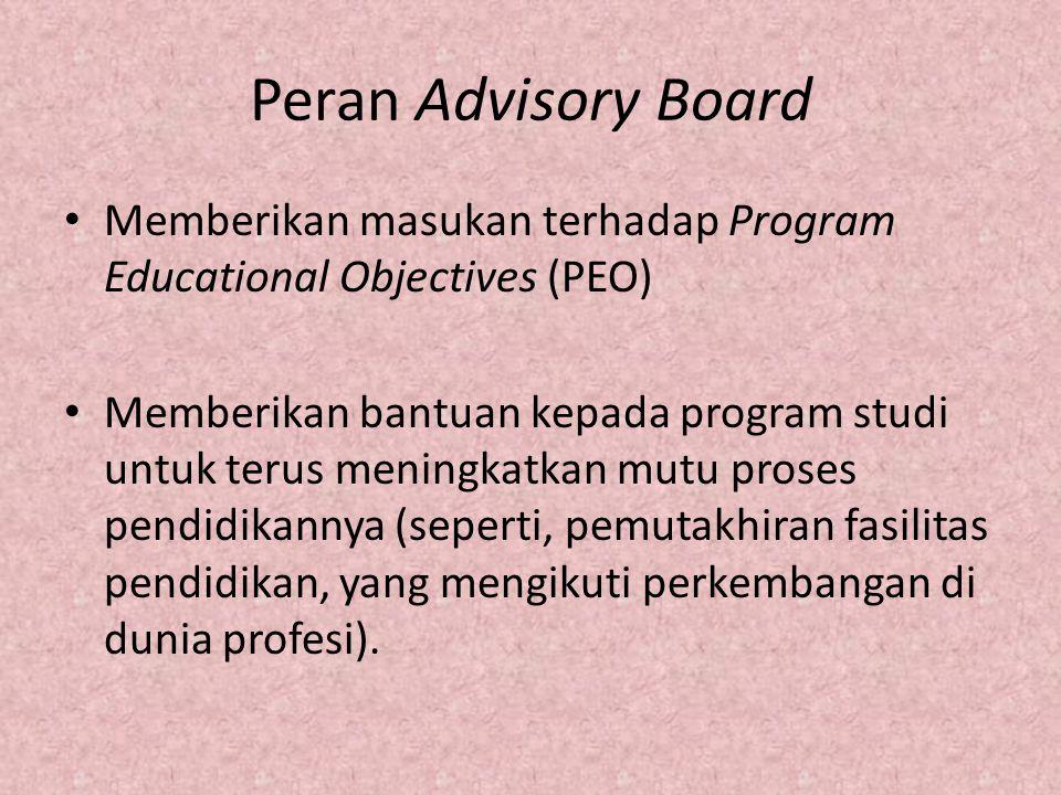 Peran Advisory Board Memberikan masukan terhadap Program Educational Objectives (PEO) Memberikan bantuan kepada program studi untuk terus meningkatkan
