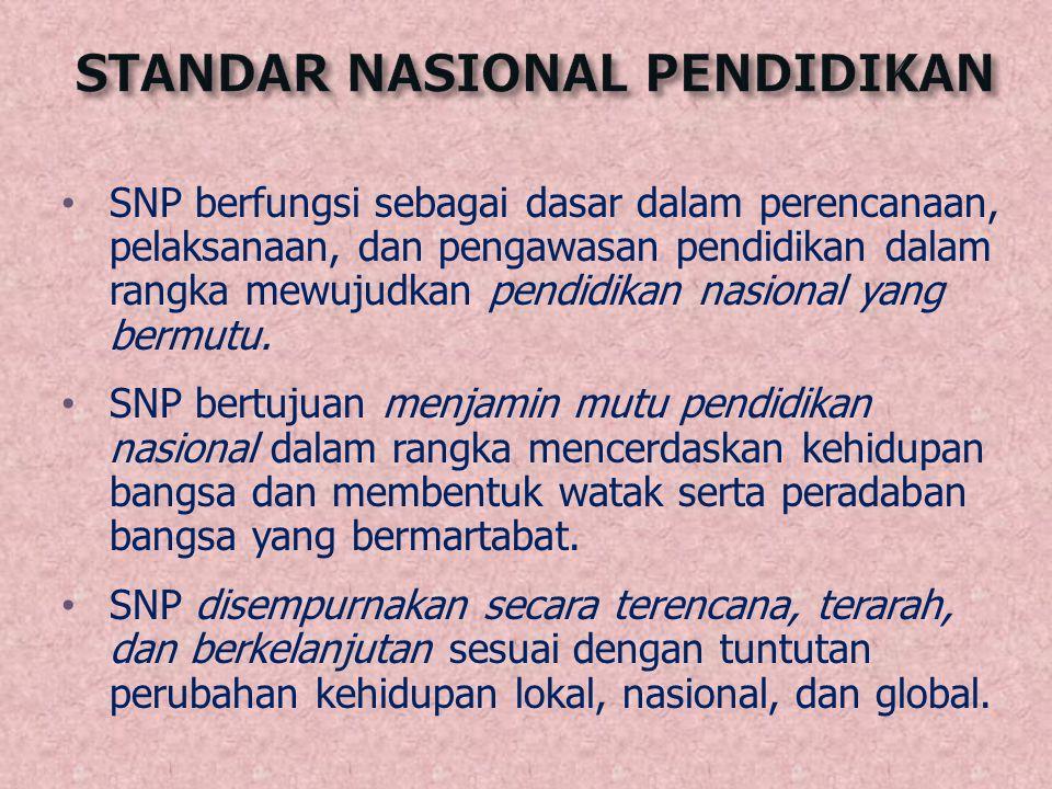 SNP berfungsi sebagai dasar dalam perencanaan, pelaksanaan, dan pengawasan pendidikan dalam rangka mewujudkan pendidikan nasional yang bermutu. SNP be