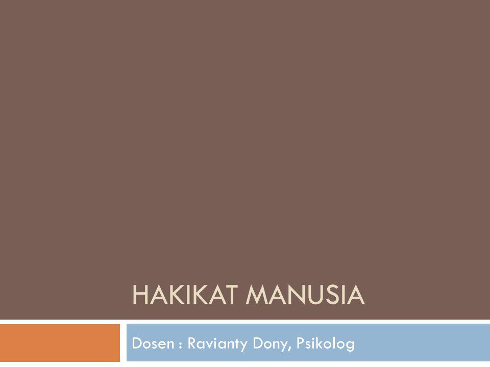 HAKIKAT MANUSIA Dosen : Ravianty Dony, Psikolog