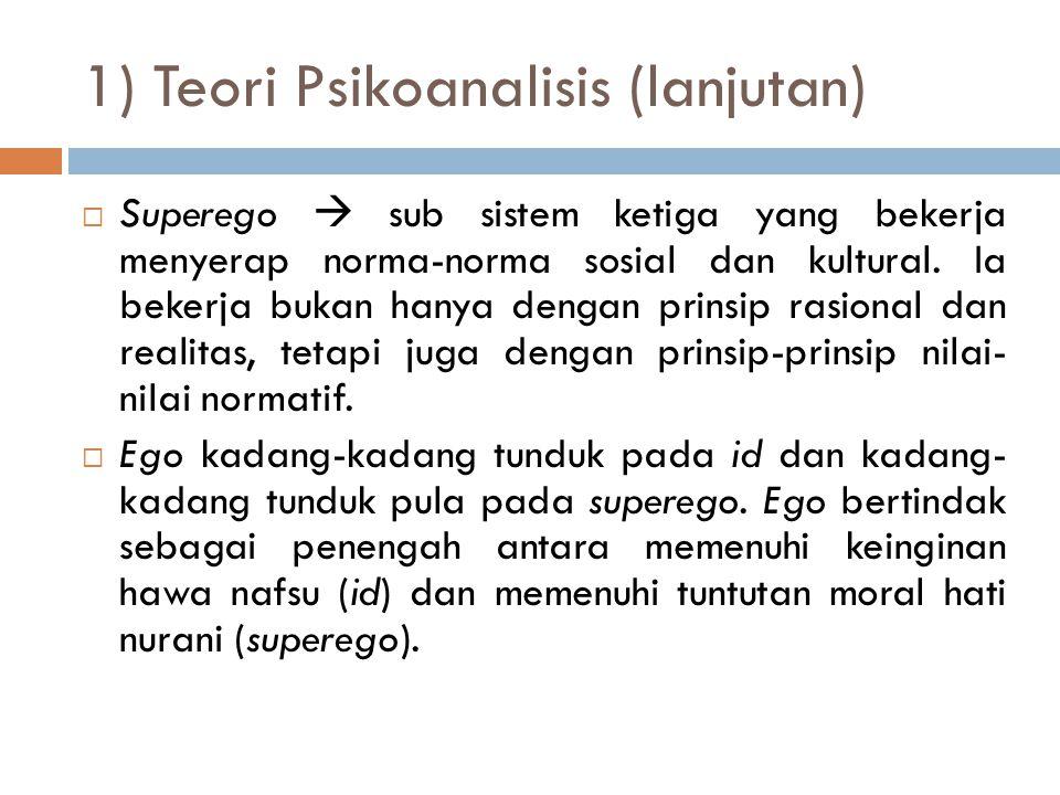 1) Teori Psikoanalisis (lanjutan)  Superego  sub sistem ketiga yang bekerja menyerap norma-norma sosial dan kultural. Ia bekerja bukan hanya dengan