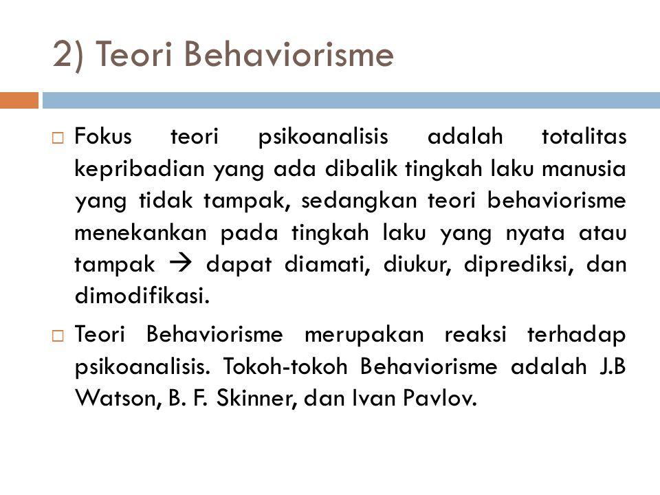 2) Teori Behaviorisme  Fokus teori psikoanalisis adalah totalitas kepribadian yang ada dibalik tingkah laku manusia yang tidak tampak, sedangkan teor
