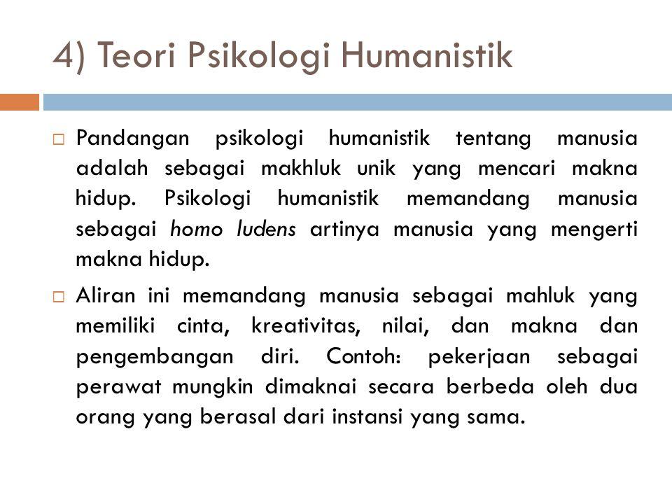 4) Teori Psikologi Humanistik  Pandangan psikologi humanistik tentang manusia adalah sebagai makhluk unik yang mencari makna hidup. Psikologi humanis