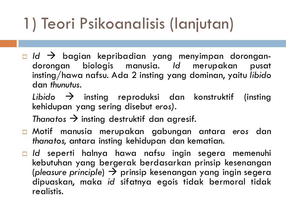 1) Teori Psikoanalisis (lanjutan)  Id  bagian kepribadian yang menyimpan dorongan- dorongan biologis manusia.