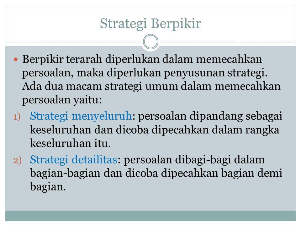 Strategi Berpikir Berpikir terarah diperlukan dalam memecahkan persoalan, maka diperlukan penyusunan strategi. Ada dua macam strategi umum dalam memec