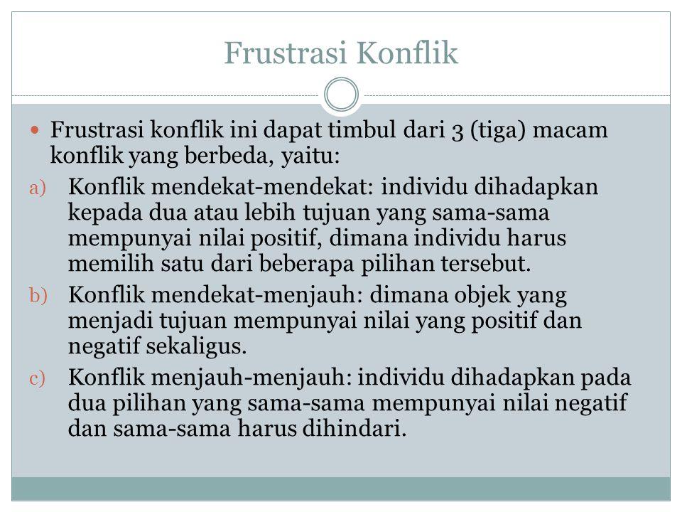 Frustrasi Konflik Frustrasi konflik ini dapat timbul dari 3 (tiga) macam konflik yang berbeda, yaitu: a) Konflik mendekat-mendekat: individu dihadapka