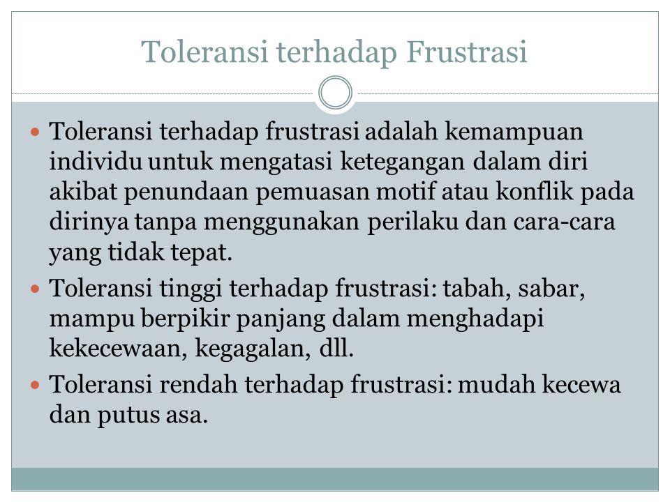 Toleransi terhadap Frustrasi Toleransi terhadap frustrasi adalah kemampuan individu untuk mengatasi ketegangan dalam diri akibat penundaan pemuasan mo