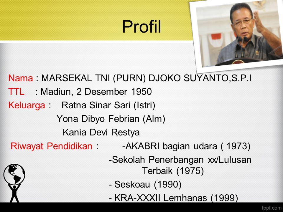 Profil Nama : MARSEKAL TNI (PURN) DJOKO SUYANTO,S.P.I TTL : Madiun, 2 Desember 1950 Keluarga : Ratna Sinar Sari (Istri) Yona Dibyo Febrian (Alm) Kania