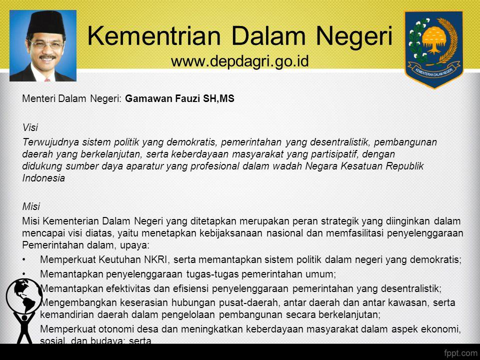 Kementrian Dalam Negeri www.depdagri.go.id Menteri Dalam Negeri: Gamawan Fauzi SH,MS Visi Terwujudnya sistem politik yang demokratis, pemerintahan yan