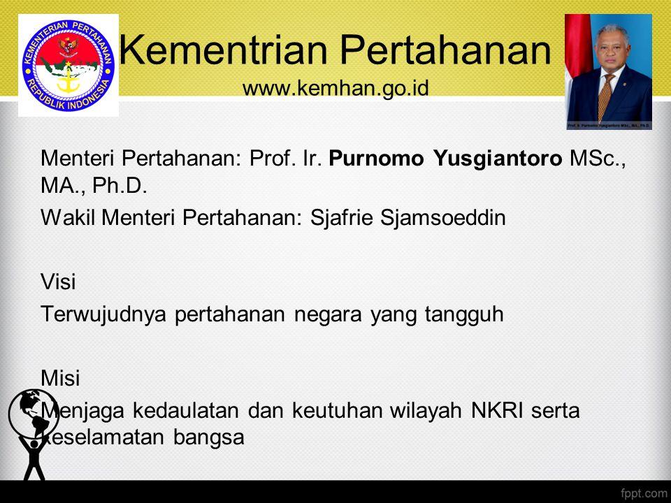 Kementrian Pertahanan www.kemhan.go.id Menteri Pertahanan: Prof. Ir. Purnomo Yusgiantoro MSc., MA., Ph.D. Wakil Menteri Pertahanan: Sjafrie Sjamsoeddi