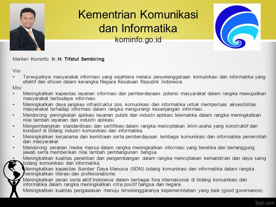 Kementrian Komunikasi dan Informatika kominfo.go.id Menteri Kominfo: Ir. H. Tifatul Sembiring Visi Terwujudnya masyarakat informasi yang sejahtera mel