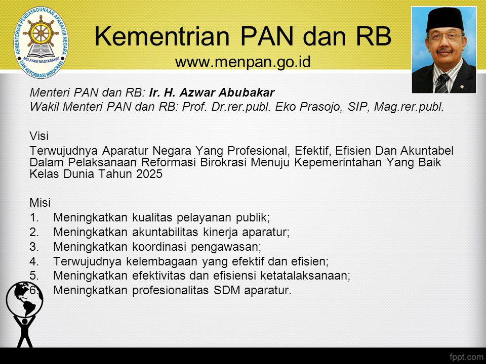 Kementrian PAN dan RB www.menpan.go.id Menteri PAN dan RB: Ir. H. Azwar Abubakar Wakil Menteri PAN dan RB: Prof. Dr.rer.publ. Eko Prasojo, SIP, Mag.re