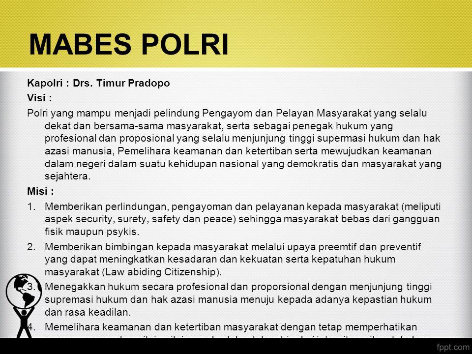 Kapolri : Drs. Timur Pradopo Visi : Polri yang mampu menjadi pelindung Pengayom dan Pelayan Masyarakat yang selalu dekat dan bersama-sama masyarakat,
