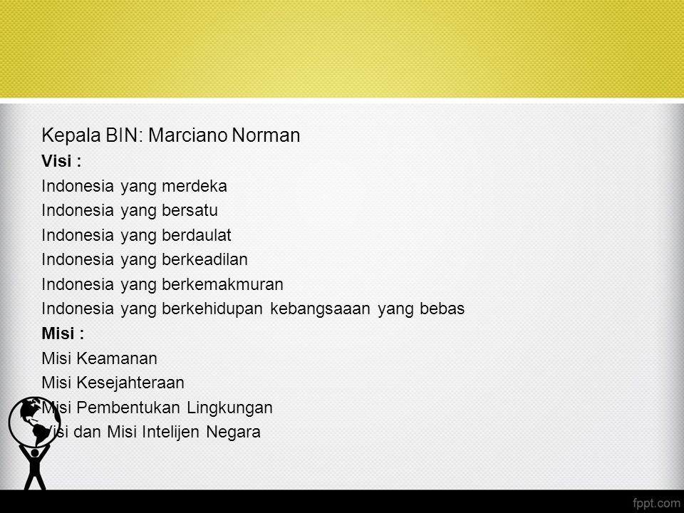 Kepala BIN: Marciano Norman Visi : Indonesia yang merdeka Indonesia yang bersatu Indonesia yang berdaulat Indonesia yang berkeadilan Indonesia yang be