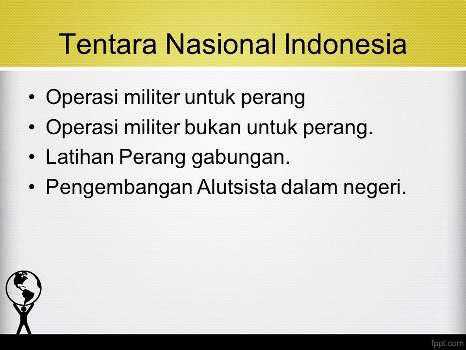 Tentara Nasional Indonesia Operasi militer untuk perang Operasi militer bukan untuk perang. Latihan Perang gabungan. Pengembangan Alutsista dalam nege