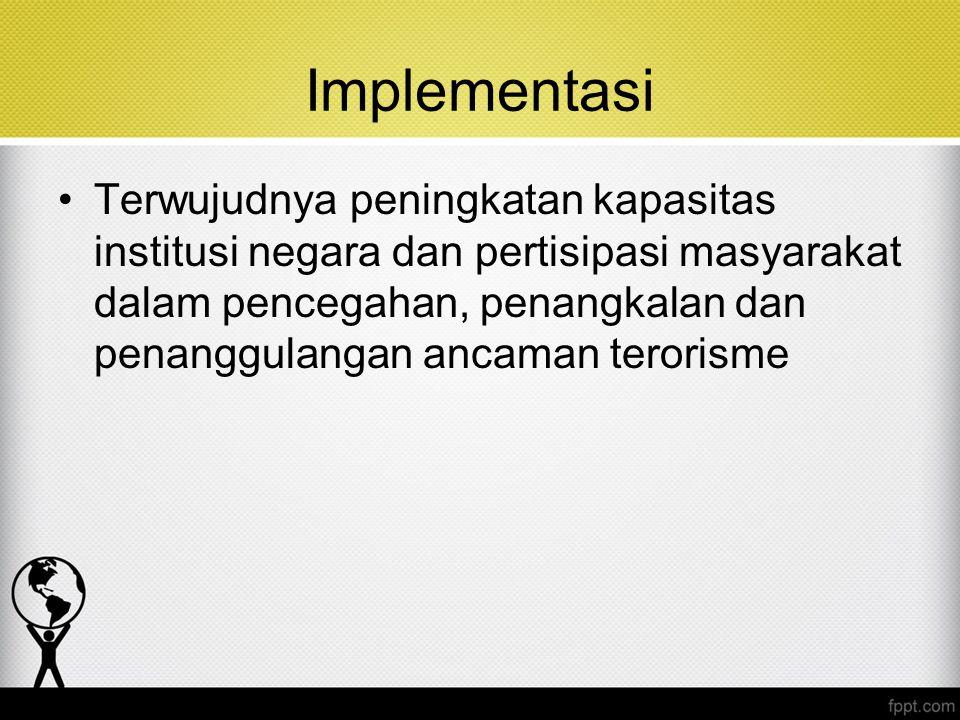 Implementasi Terwujudnya peningkatan kapasitas institusi negara dan pertisipasi masyarakat dalam pencegahan, penangkalan dan penanggulangan ancaman te