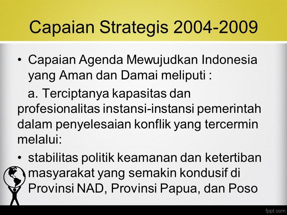 Capaian Strategis 2004-2009 Capaian Agenda Mewujudkan Indonesia yang Aman dan Damai meliputi : a. Terciptanya kapasitas dan profesionalitas instansi-i