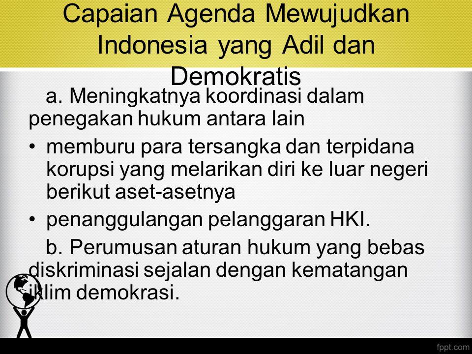 Capaian Agenda Mewujudkan Indonesia yang Adil dan Demokratis a. Meningkatnya koordinasi dalam penegakan hukum antara lain memburu para tersangka dan t