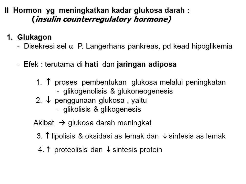 II Hormon yg meningkatkan kadar glukosa darah : II Hormon yg meningkatkan kadar glukosa darah : (insulin counterregulatory hormone) (insulin counterregulatory hormone) 1.