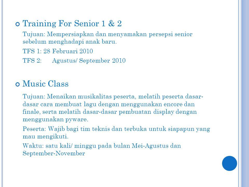 Training For Senior 1 & 2 Tujuan: Mempersiapkan dan menyamakan persepsi senior sebelum menghadapi anak baru.