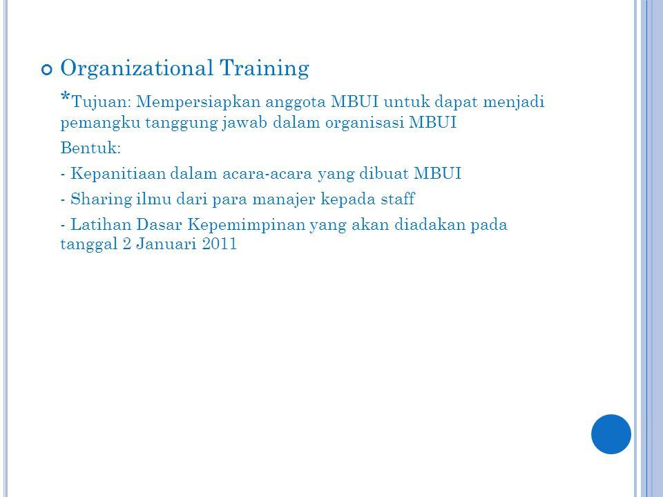 Organizational Training * Tujuan: Mempersiapkan anggota MBUI untuk dapat menjadi pemangku tanggung jawab dalam organisasi MBUI Bentuk: - Kepanitiaan dalam acara-acara yang dibuat MBUI - Sharing ilmu dari para manajer kepada staff - Latihan Dasar Kepemimpinan yang akan diadakan pada tanggal 2 Januari 2011