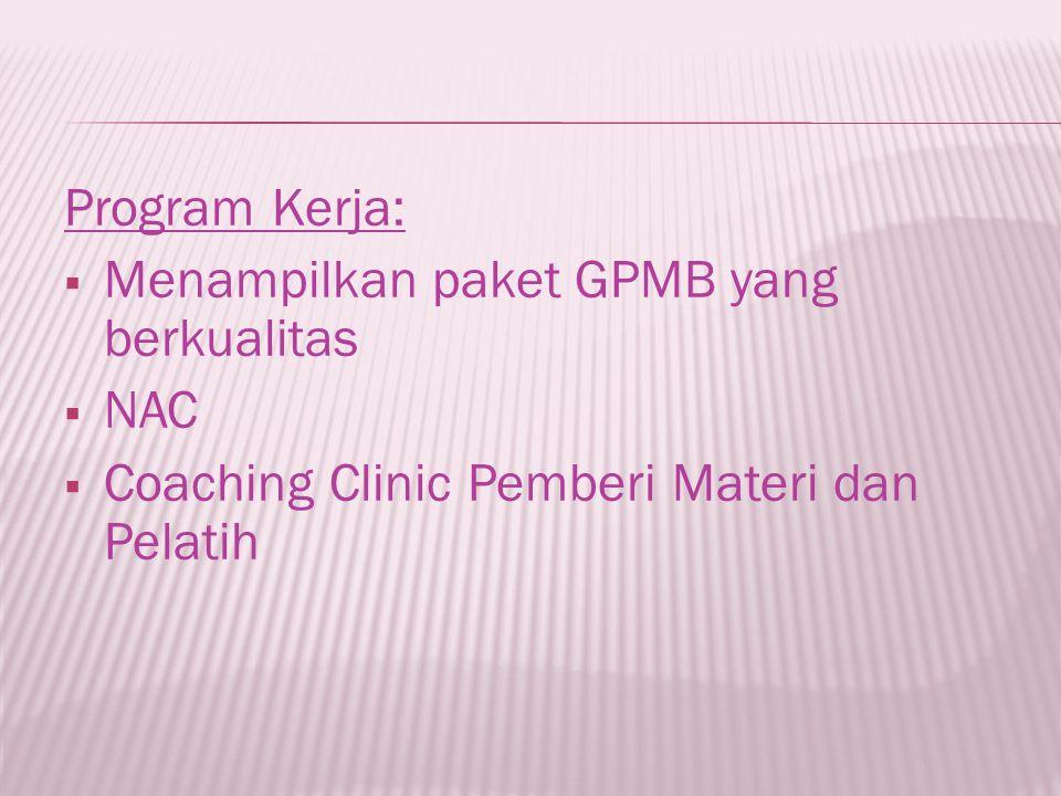 Program Kerja:  Menampilkan paket GPMB yang berkualitas  NAC  Coaching Clinic Pemberi Materi dan Pelatih