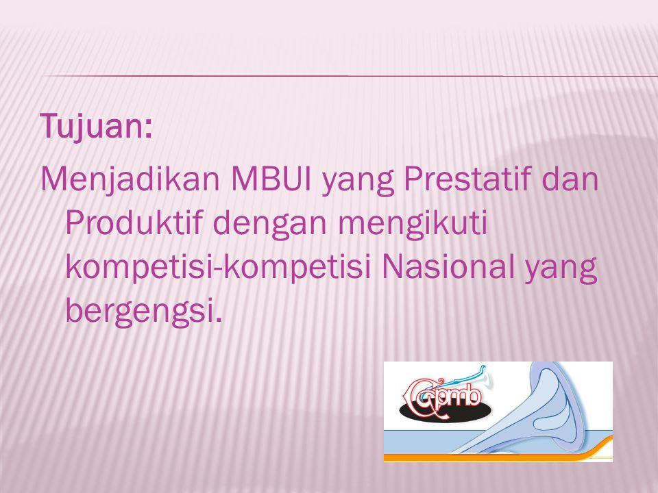 Tujuan: Menjadikan MBUI yang Prestatif dan Produktif dengan mengikuti kompetisi-kompetisi Nasional yang bergengsi.