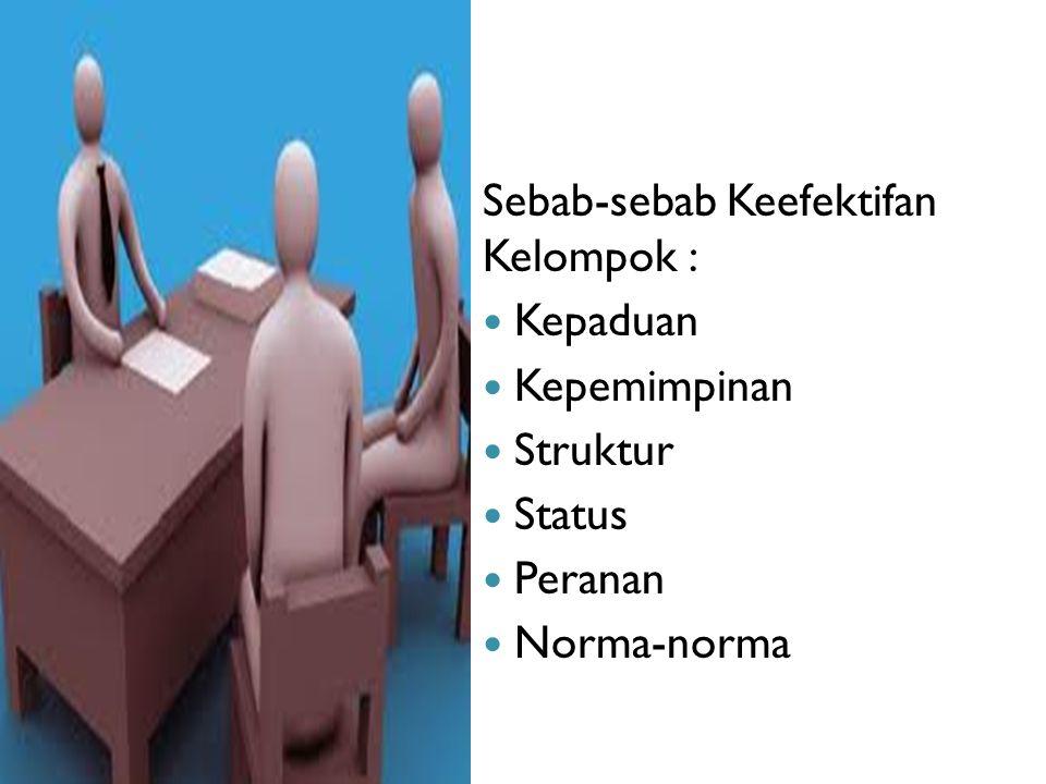 Sebab-sebab Keefektifan Kelompok : Kepaduan Kepemimpinan Struktur Status Peranan Norma-norma
