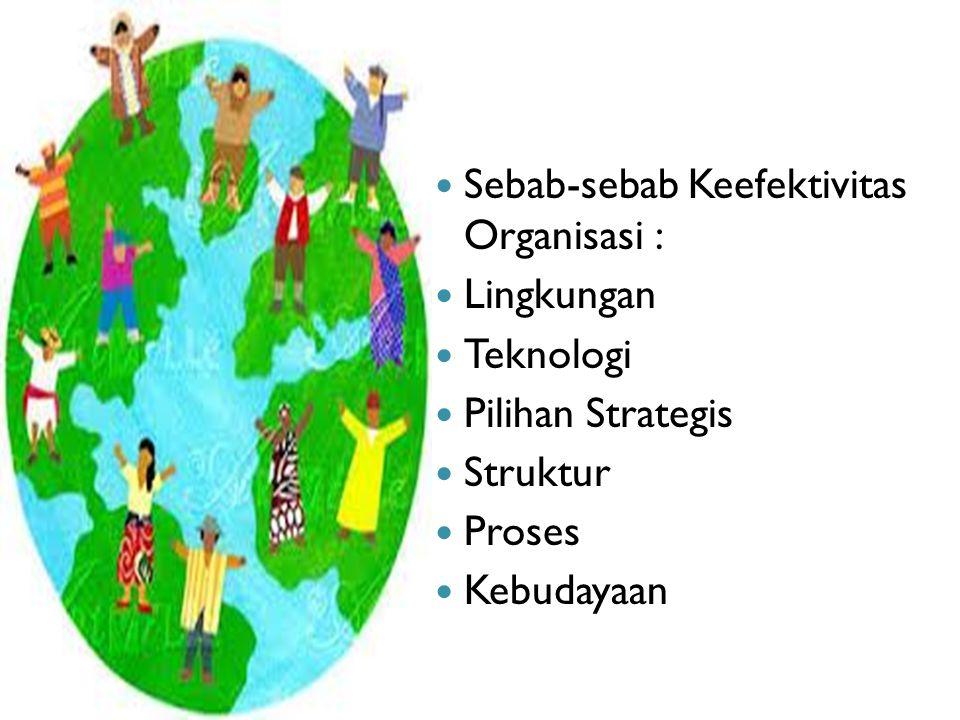 Sebab-sebab Keefektivitas Organisasi : Lingkungan Teknologi Pilihan Strategis Struktur Proses Kebudayaan