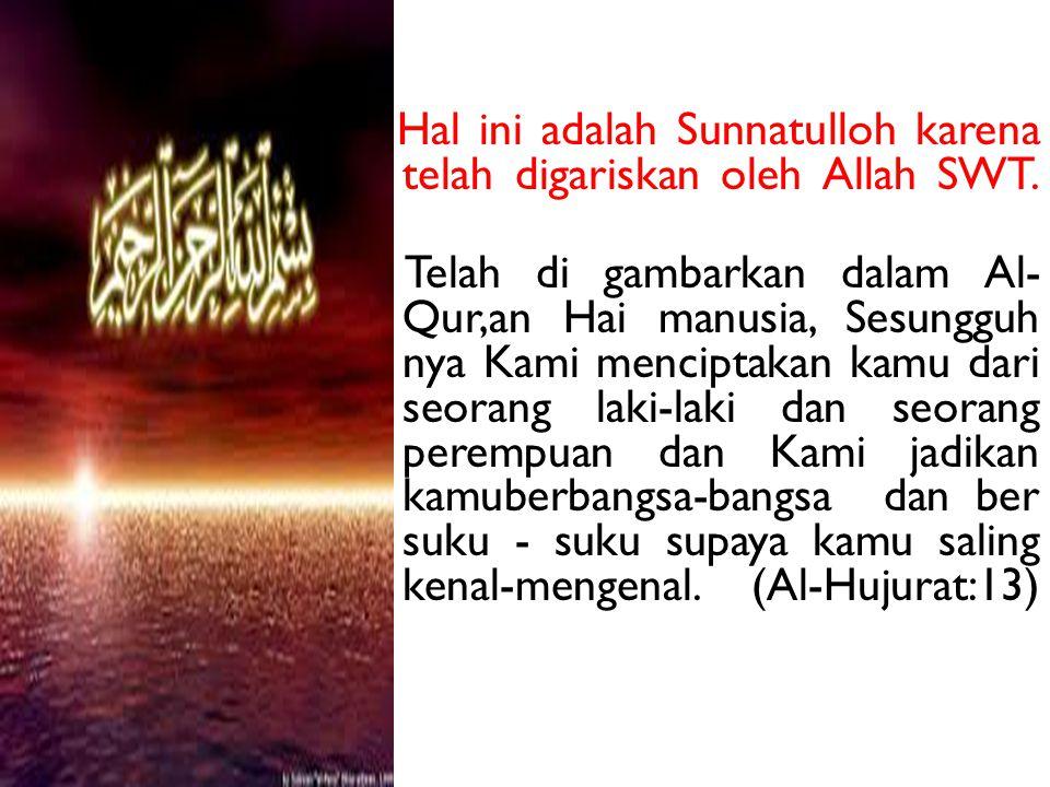 Hal ini adalah Sunnatulloh karena telah digariskan oleh Allah SWT. Telah di gambarkan dalam Al- Qur,an Hai manusia, Sesungguh nya Kami menciptakan kam