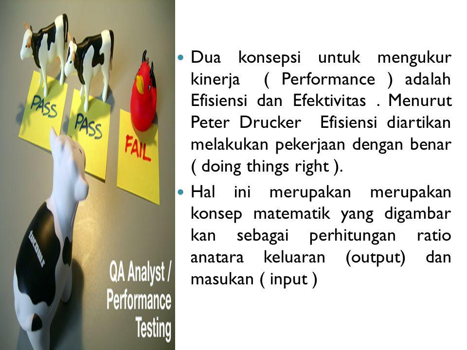 Dua konsepsi untuk mengukur kinerja ( Performance ) adalah Efisiensi dan Efektivitas. Menurut Peter Drucker Efisiensi diartikan melakukan pekerjaan de