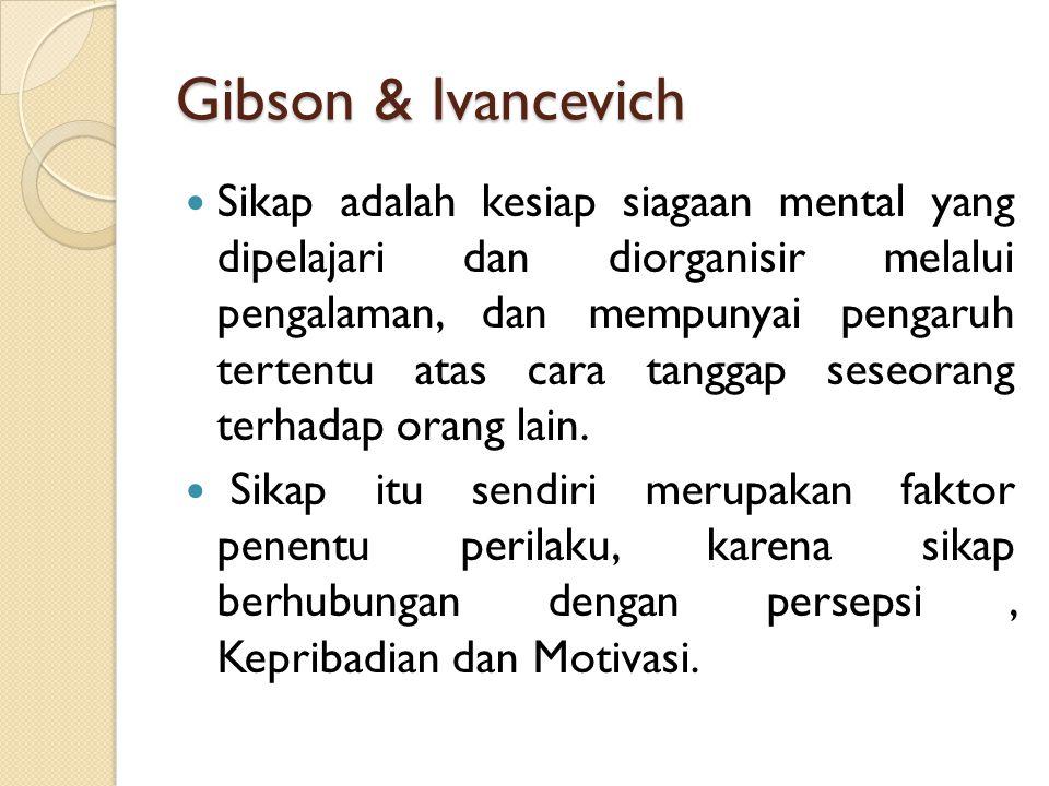 Gibson & Ivancevich Sikap adalah kesiap siagaan mental yang dipelajari dan diorganisir melalui pengalaman, dan mempunyai pengaruh tertentu atas cara t