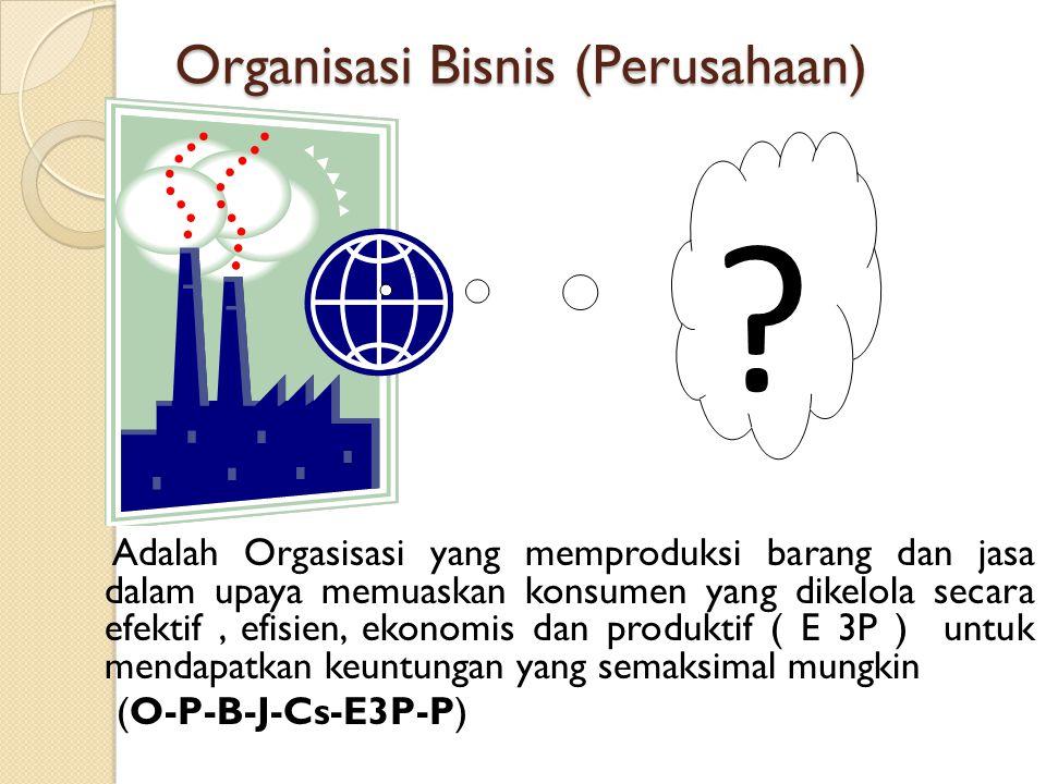 Organisasi Bisnis (Perusahaan) Adalah Orgasisasi yang memproduksi barang dan jasa dalam upaya memuaskan konsumen yang dikelola secara efektif, efisien