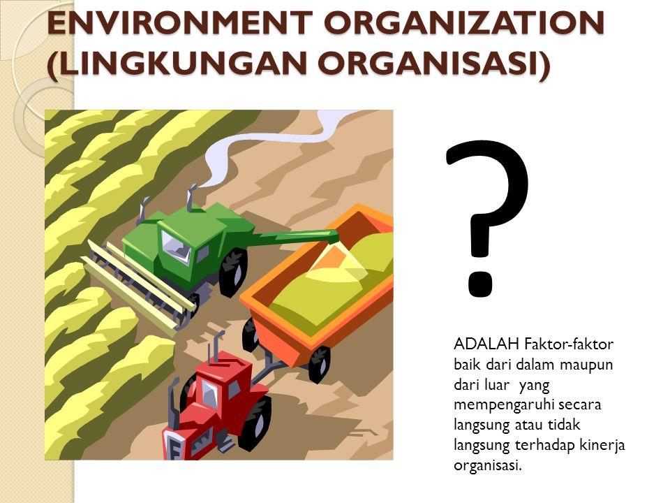 ENVIRONMENT ORGANIZATION (LINGKUNGAN ORGANISASI) ? ADALAH Faktor-faktor baik dari dalam maupun dari luar yang mempengaruhi secara langsung atau tidak