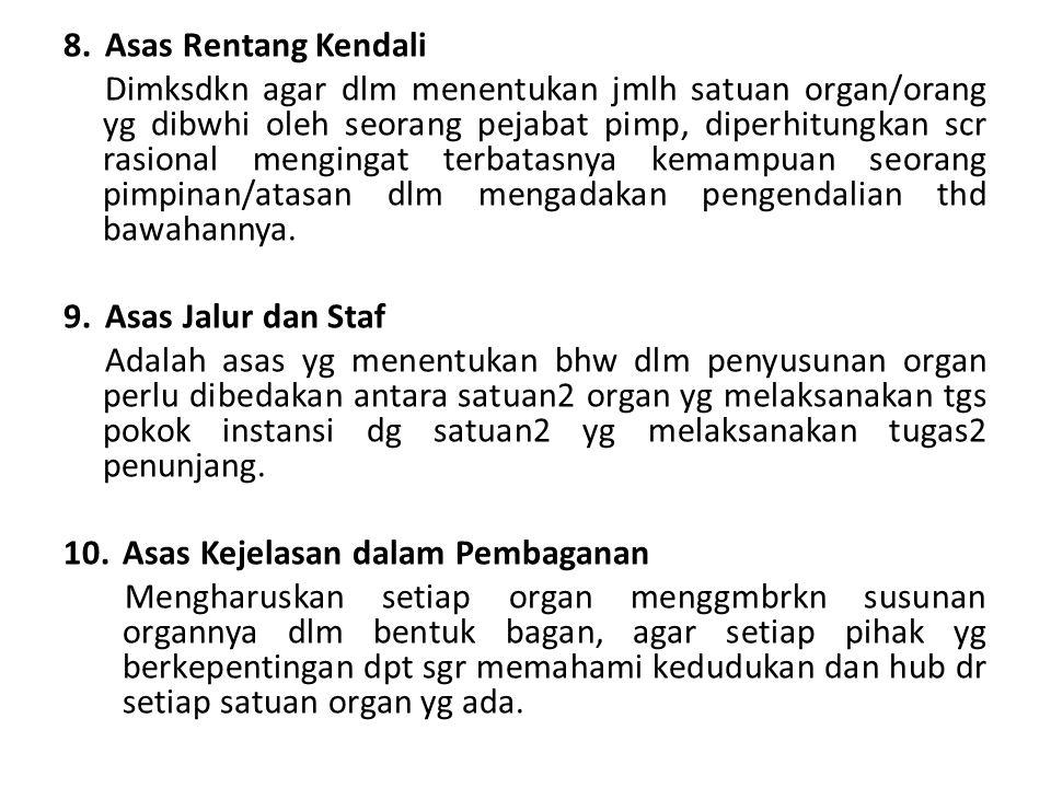 8.Asas Rentang Kendali Dimksdkn agar dlm menentukan jmlh satuan organ/orang yg dibwhi oleh seorang pejabat pimp, diperhitungkan scr rasional mengingat
