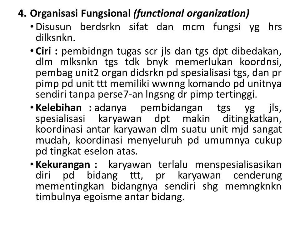 4.Organisasi Fungsional (functional organization) Disusun berdsrkn sifat dan mcm fungsi yg hrs dilksnkn. Ciri : pembidngn tugas scr jls dan tgs dpt di
